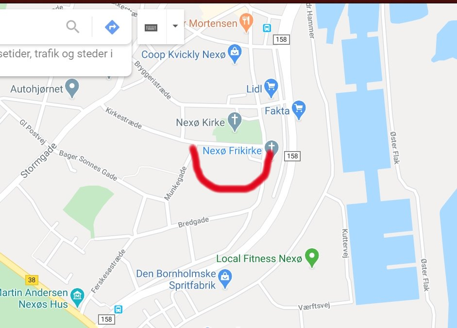 Map of Nexø Freechurch with smiley